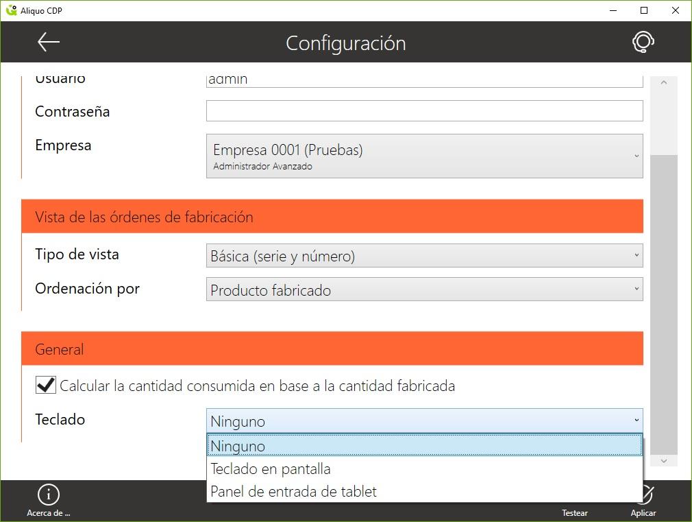 configuracion teclado CDP