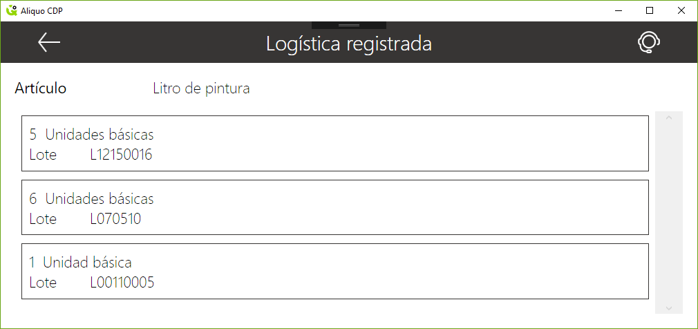 Logística registrada