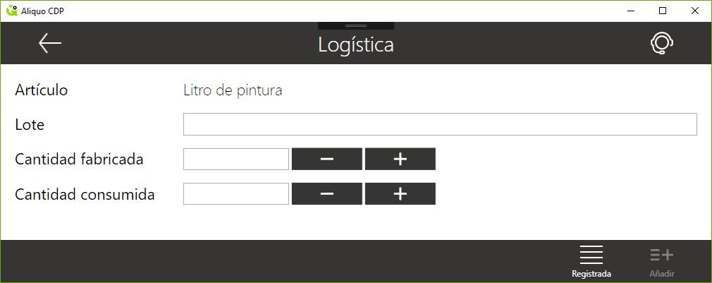 Botón para consultar la logística registrada